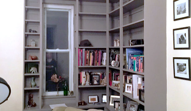 East Village Apartment. Bookshelves. Before.